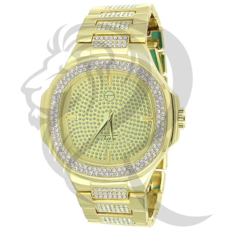 46MM IcedOut Illusion Dial Yellow Tone Men's Watch
