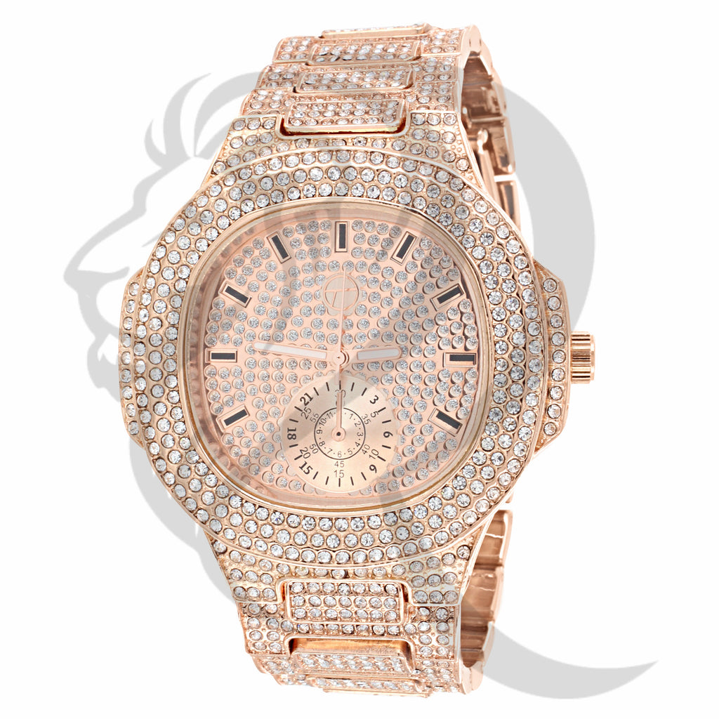 Rose Gold 51MM IcedOut Men's Watch