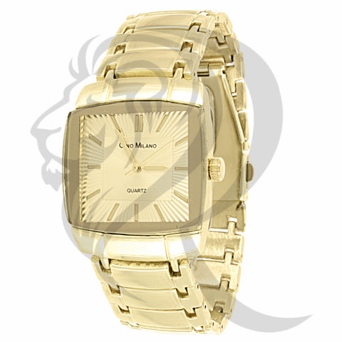 35MM All Yellow Tone Metal Men's Watch