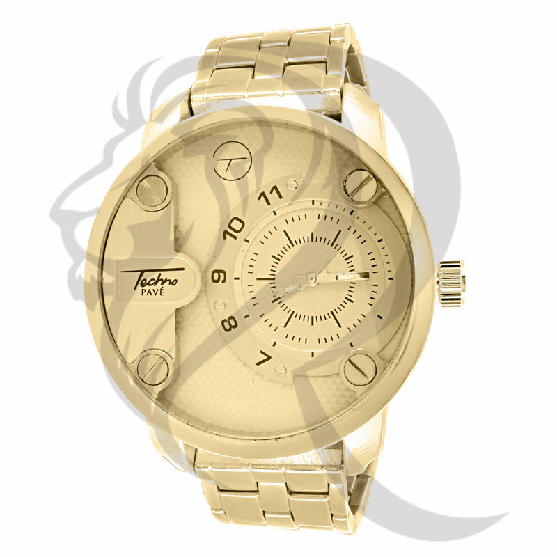 Plain Yellow 52MM Techno Pave Watch