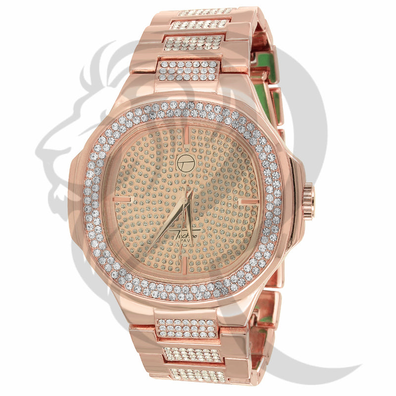 Rose Gold Tone 46MM IcedOut Techno Pave Watch