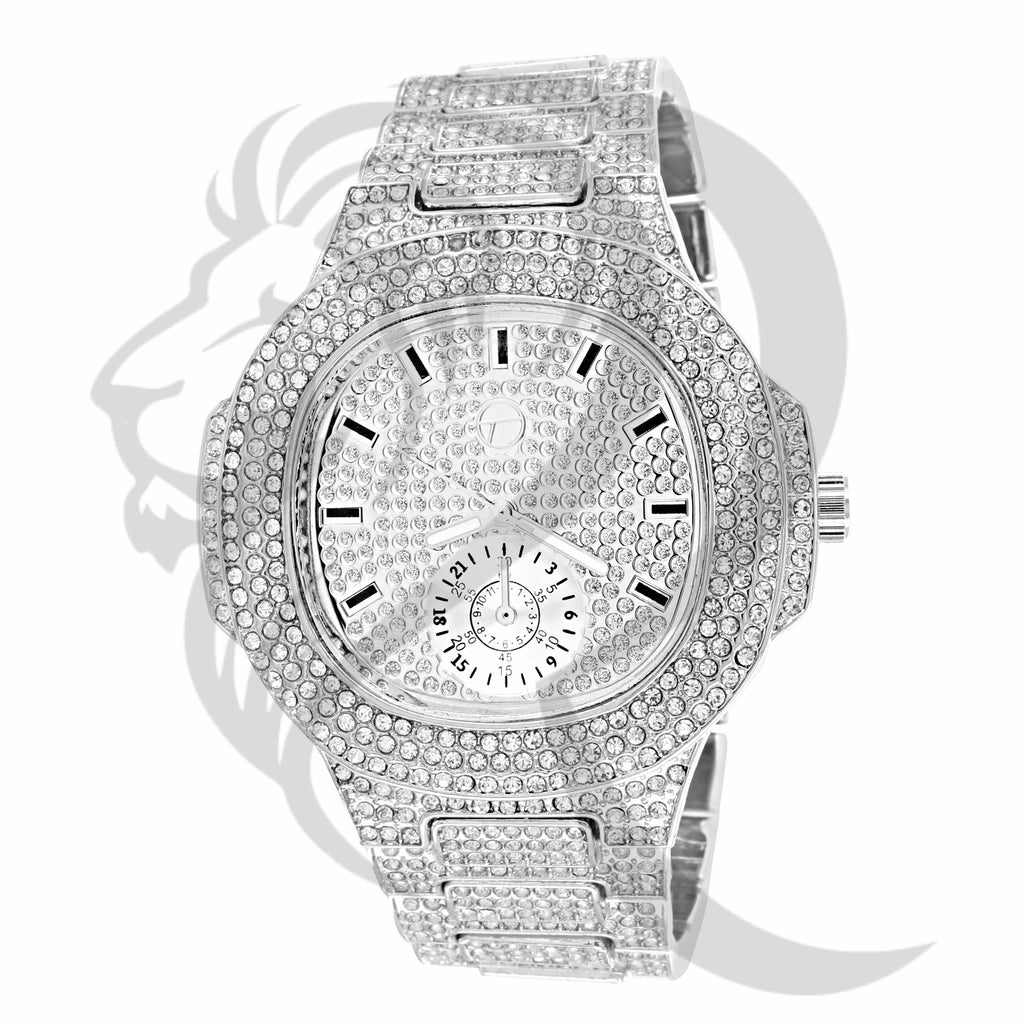 White Gold Tone 51MM IcedOut Watch