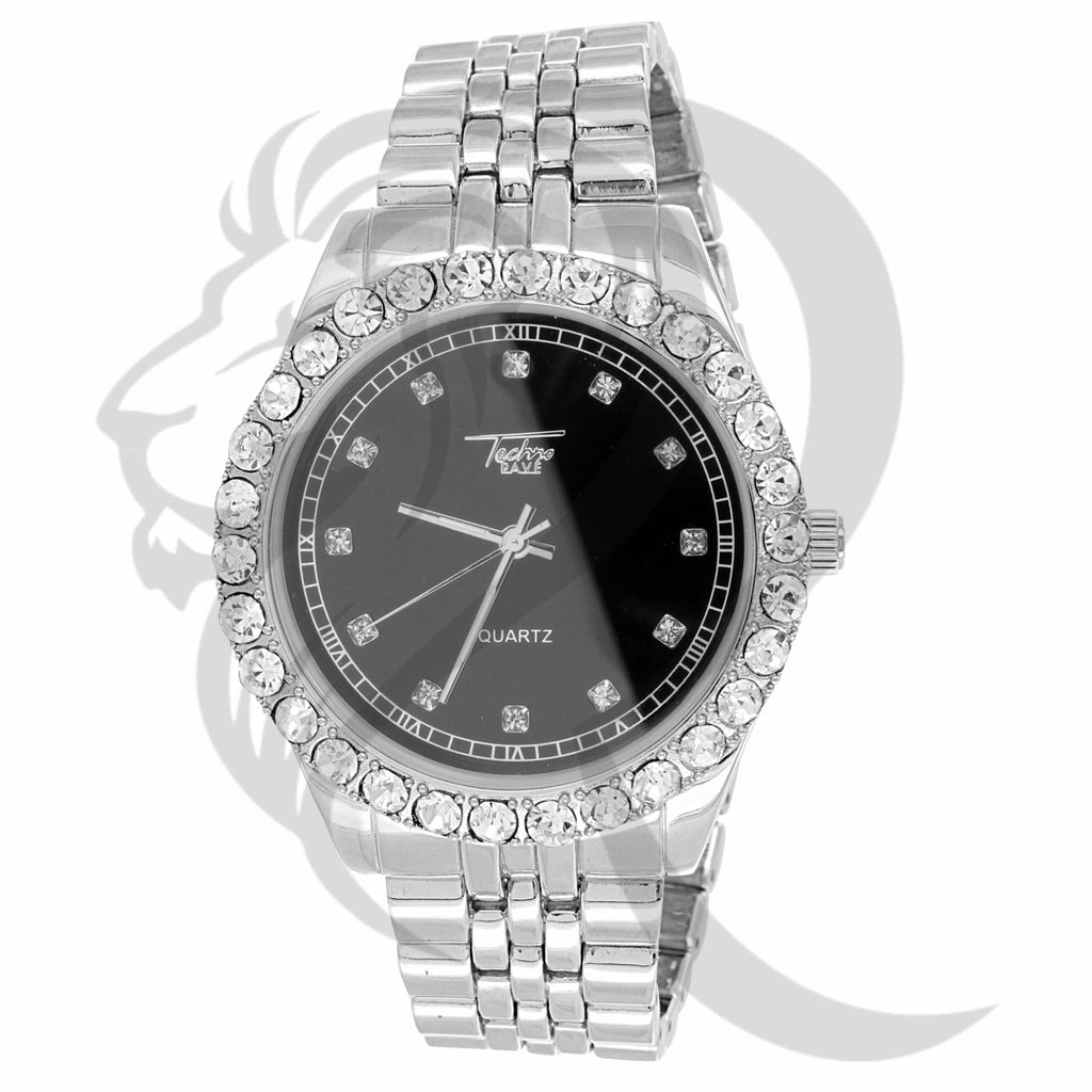 44MM Black & White Dial Solitaire Presidential Men's Watch