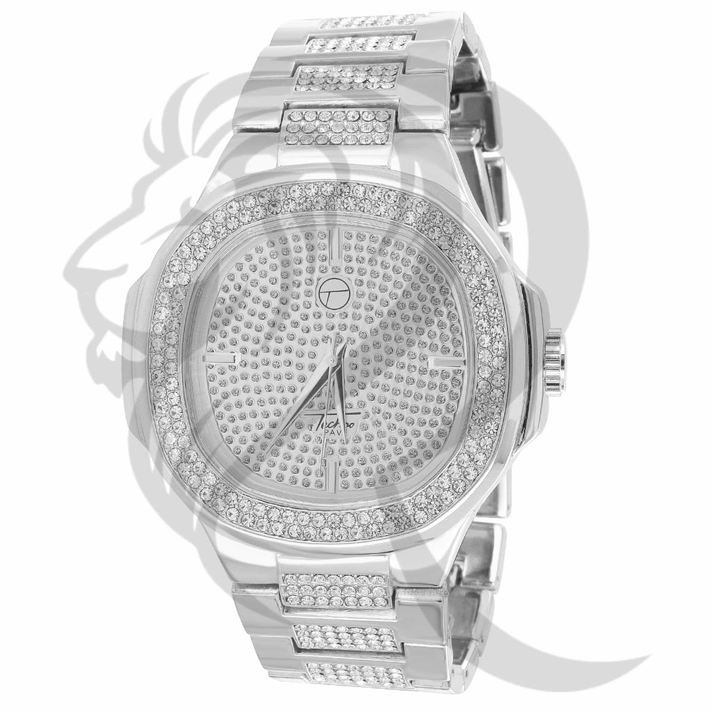 46MM White IcedOut Techno Pave Men's Watch