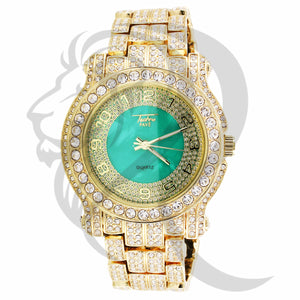 4MM Green Dial Solitaire IcedOut Techno Pave Metal Watch