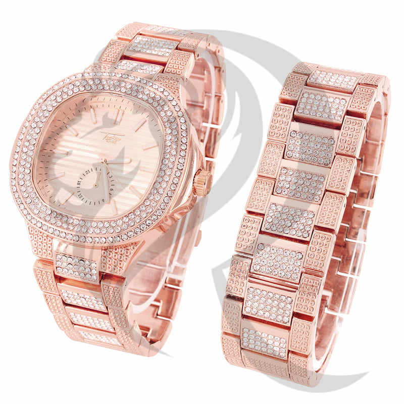 48MM Rose Tone IcedOut Techno Pave Watch Bracelet Set Free Box