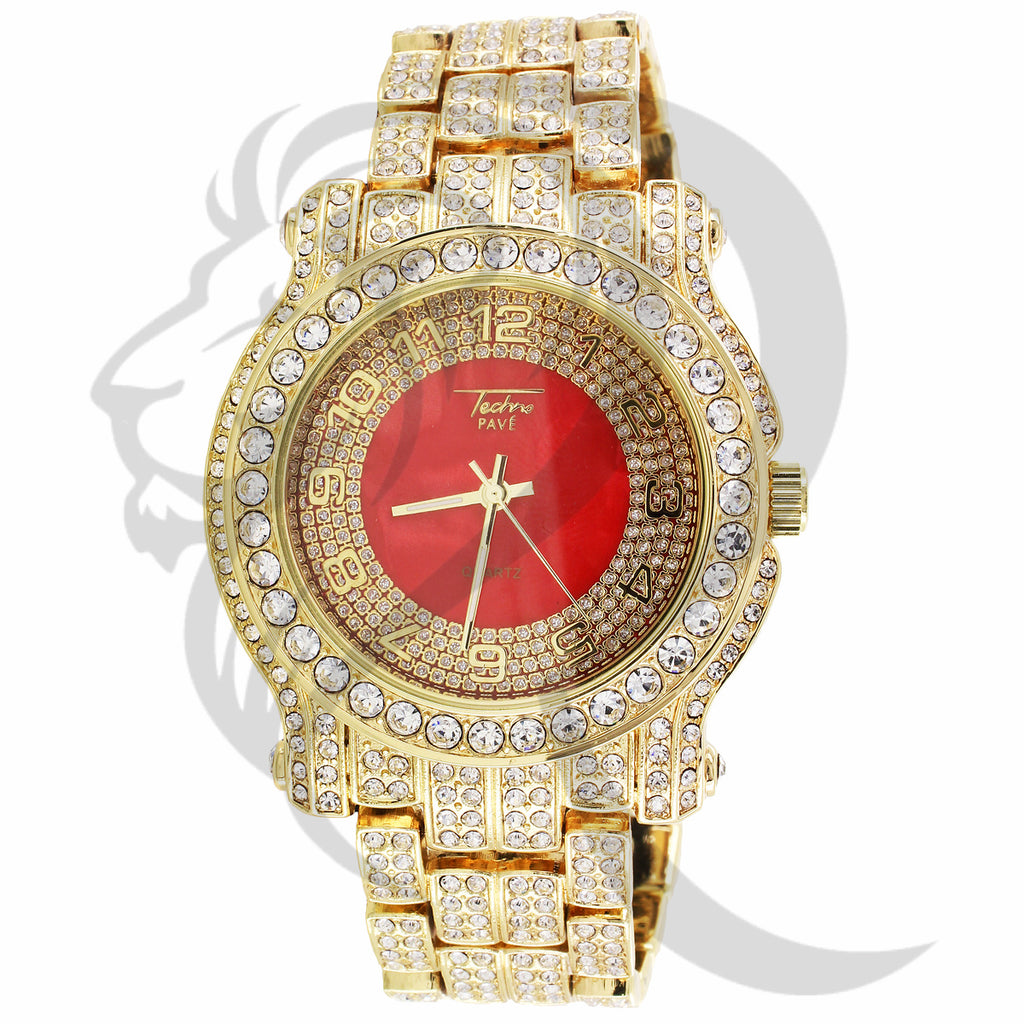 44MM Red Dial Round IcedOut Face Techno Pave Men's Watch