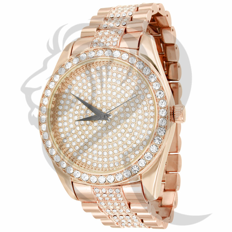 Rose Gold Tone 45MM Solitaire IcedOut Men's Watch