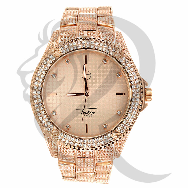 47MM Rose Tone Plain Band Round Face Watch