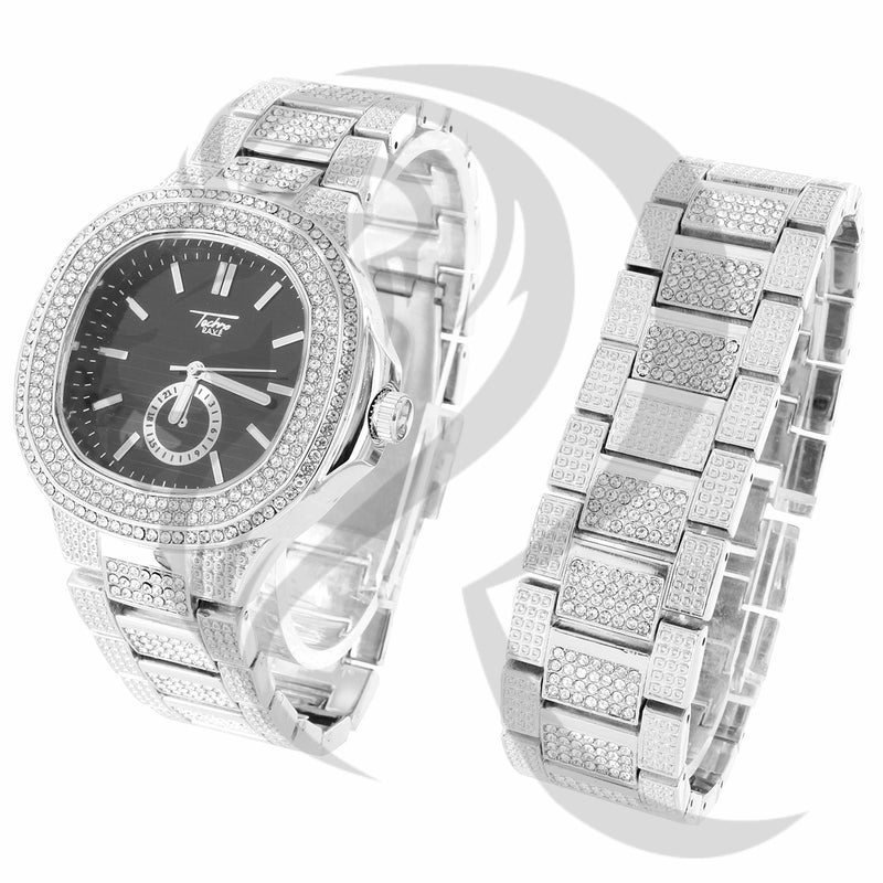 48MM IcedOut Face Black Dial Techno Pave Watch Bracelet Combo Set