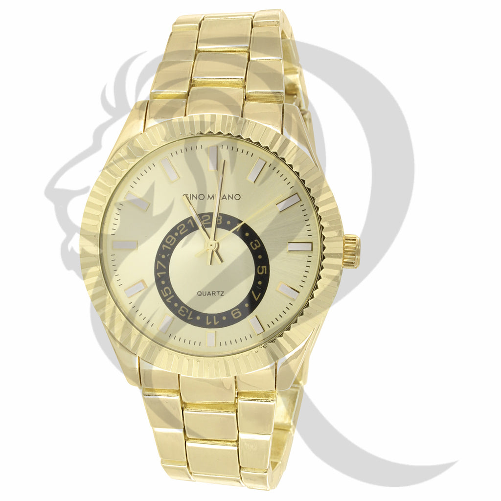 Plain Yellow Gold Tone 42MM Fluted Dial Men's Metal Watch
