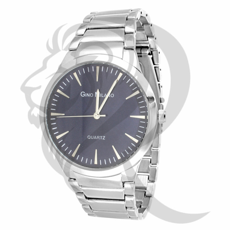 White Tone Navy Blue Dial Watch