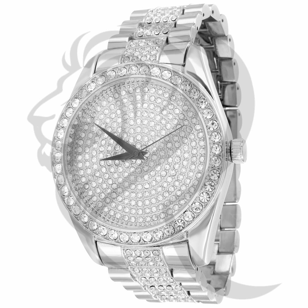 White 45MM IcedOut Round Face Techno Pave Watch