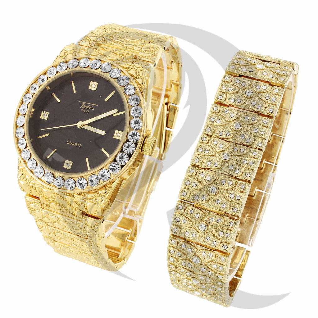44MM Round Face Plain Nugget Style Watch IcedOut Bracelet Combo Set