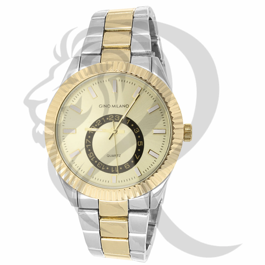 42MM Fluted Bezel White & Yellow Two-Tone Plain Watch
