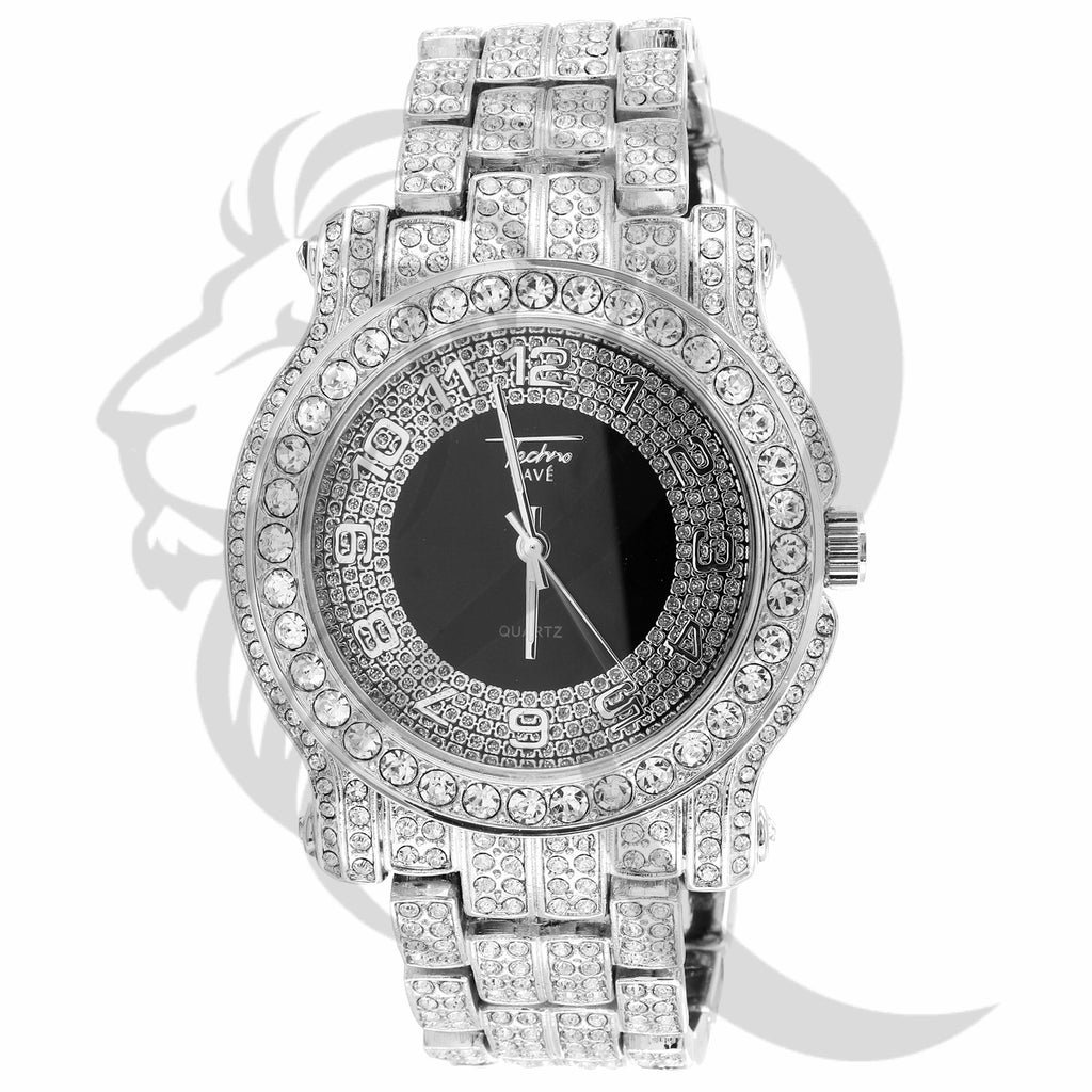 44MM Black Dial Solitaire Round Face IcedOut Techno Pave Watch