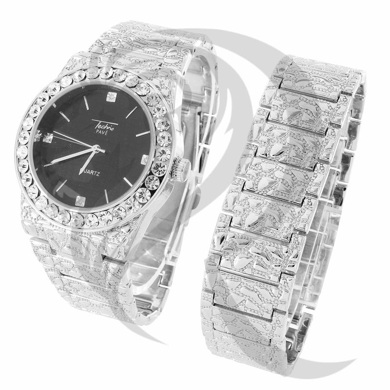 44MM Black Dial IcedOut Face Plain Nugget Style Watch Bracelet Set