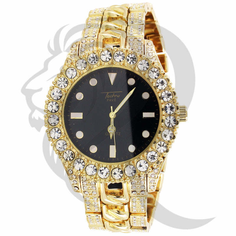 44MM Solitaire Face Black Dial IcedOut Cuban Link Band Watch