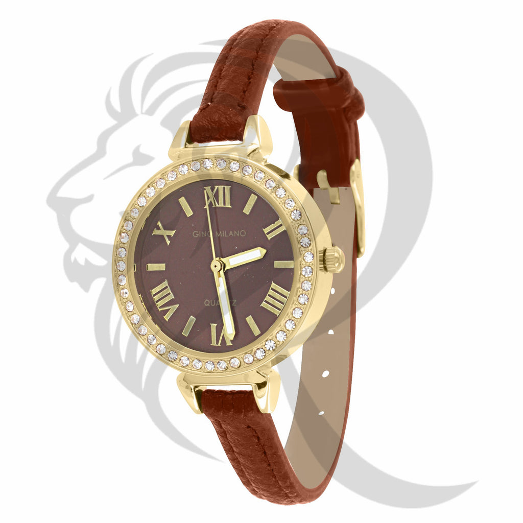 30MM IcedOut Rim Leather Band Women's Gino Milano Watch