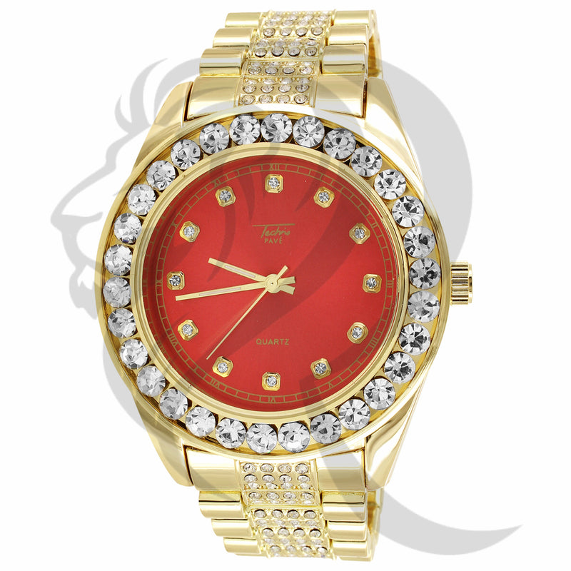 46MM Round Solitaire Bezel Red Face Presidential IcedOut Watch