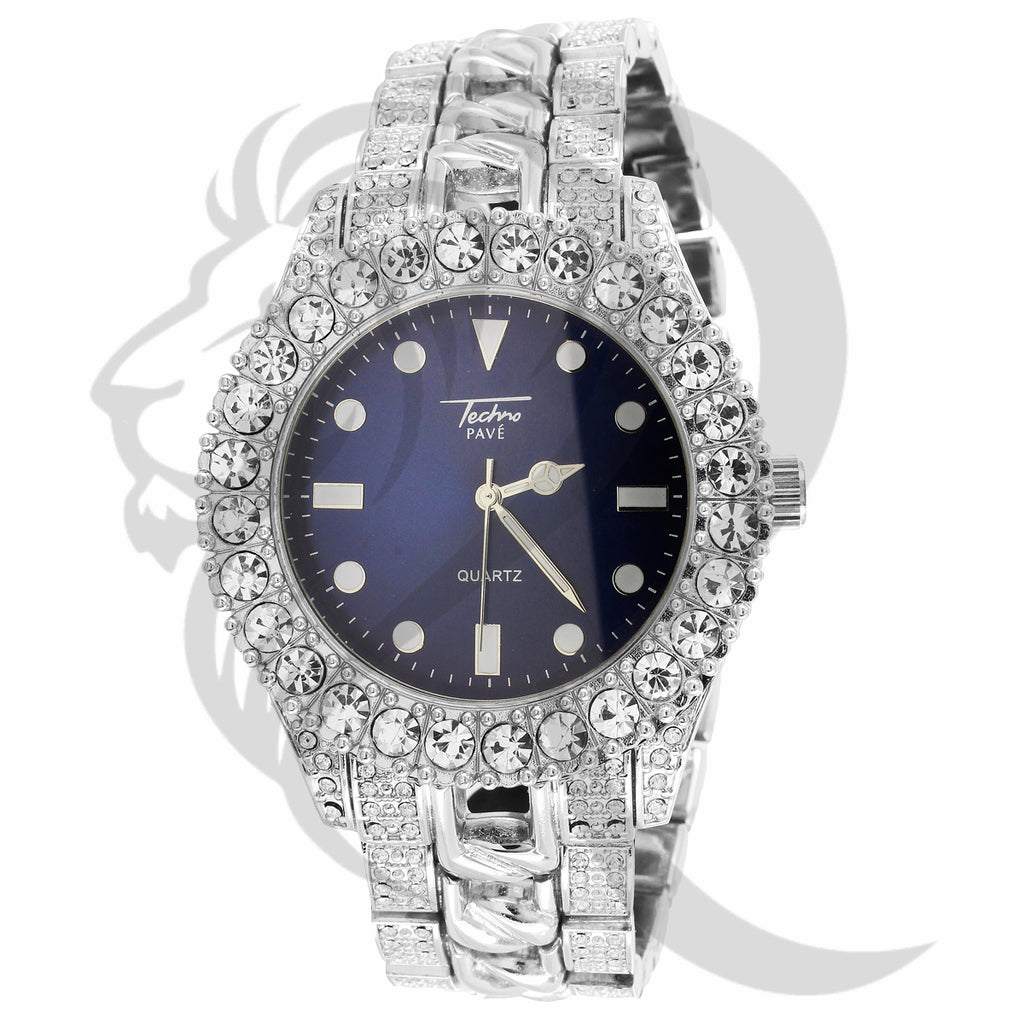 44MM Blue Dial IcedOut Face Cuban Link Band Techno Pave Watch