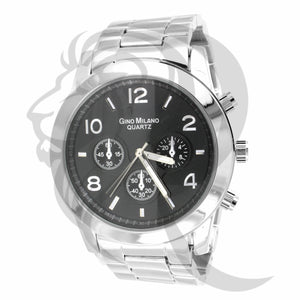 44MM Black Dial White Watch