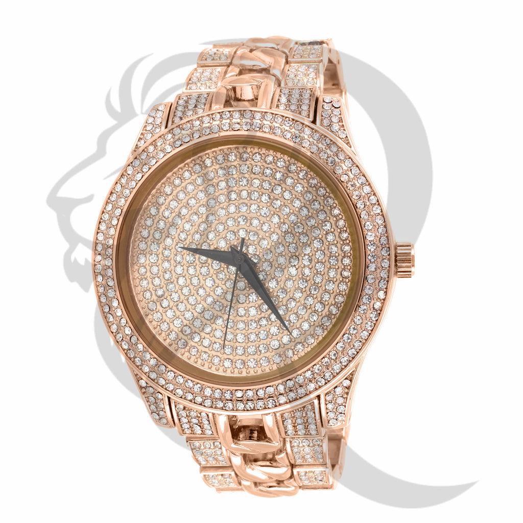 Rose Gold Flooded Cuban Link Band 48MM Watch