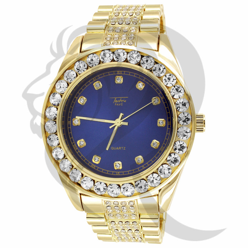 46MM Blue Dial Solitaire Bezel IcedOut Presidential Band Watch