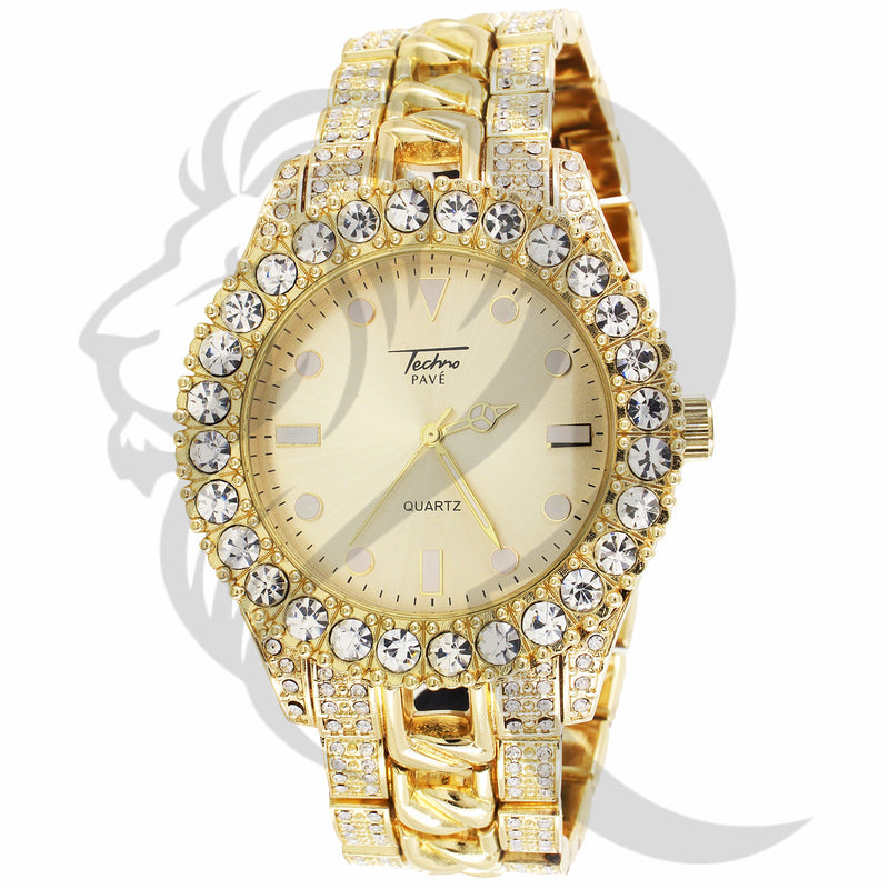 44MM Yellow Luxury Look IcedOut Cuban Link Metal Band Watch