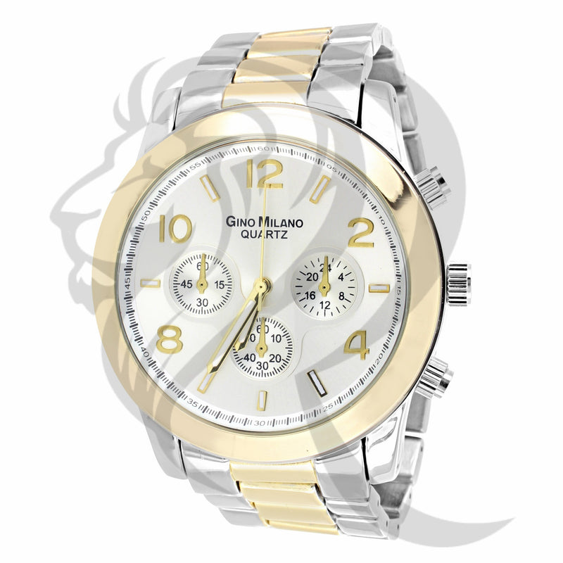 White Dial 2 Tone Plain Watch