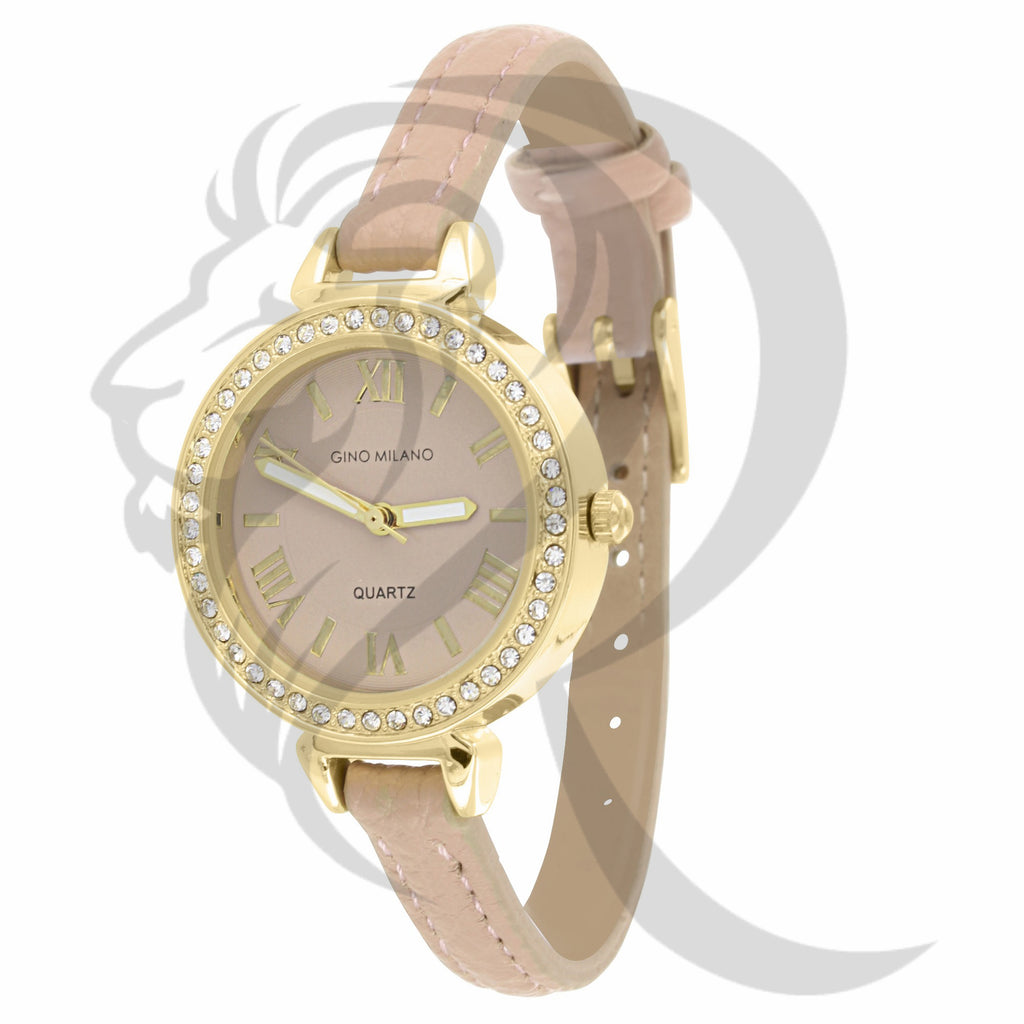 Roman Numeral 30MM IcedOut Dial Leather Band Ladies Watch