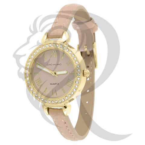 30MM IcedOut Dial Leather Band  Ladies Watch