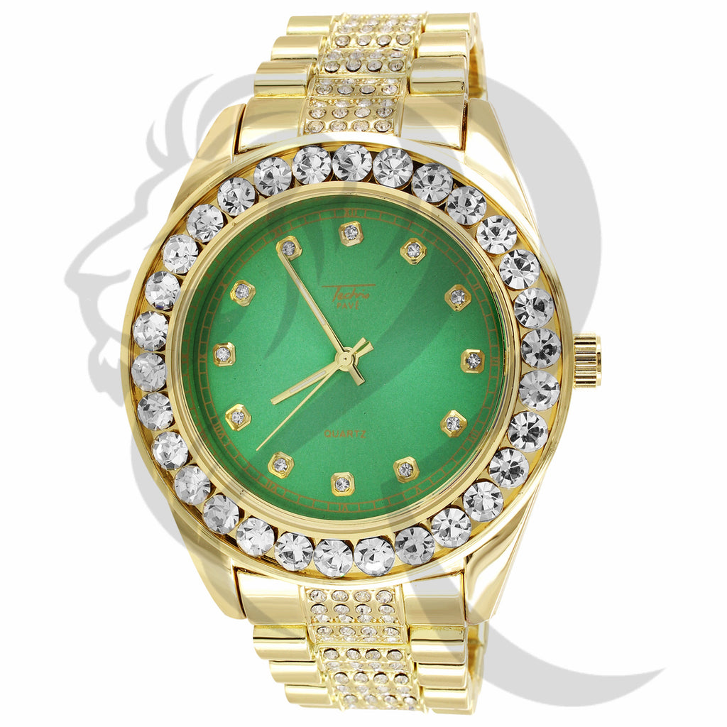 46MM Green Dial Round Solitaire Face Presidential Band Men's Watch