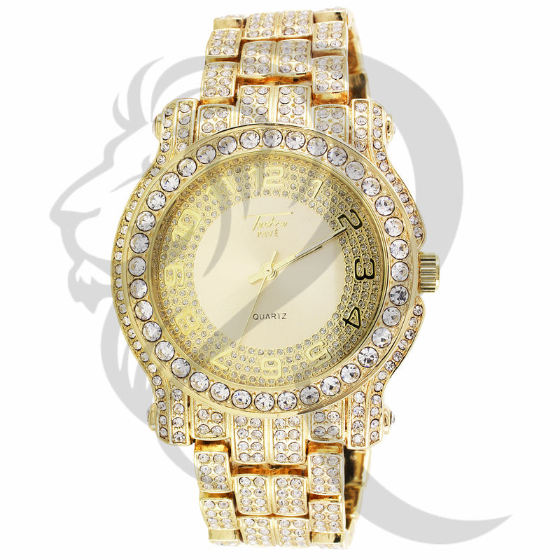 44MM Yellow Gold Tone IcedOut Solitaire Metal Men's Watch