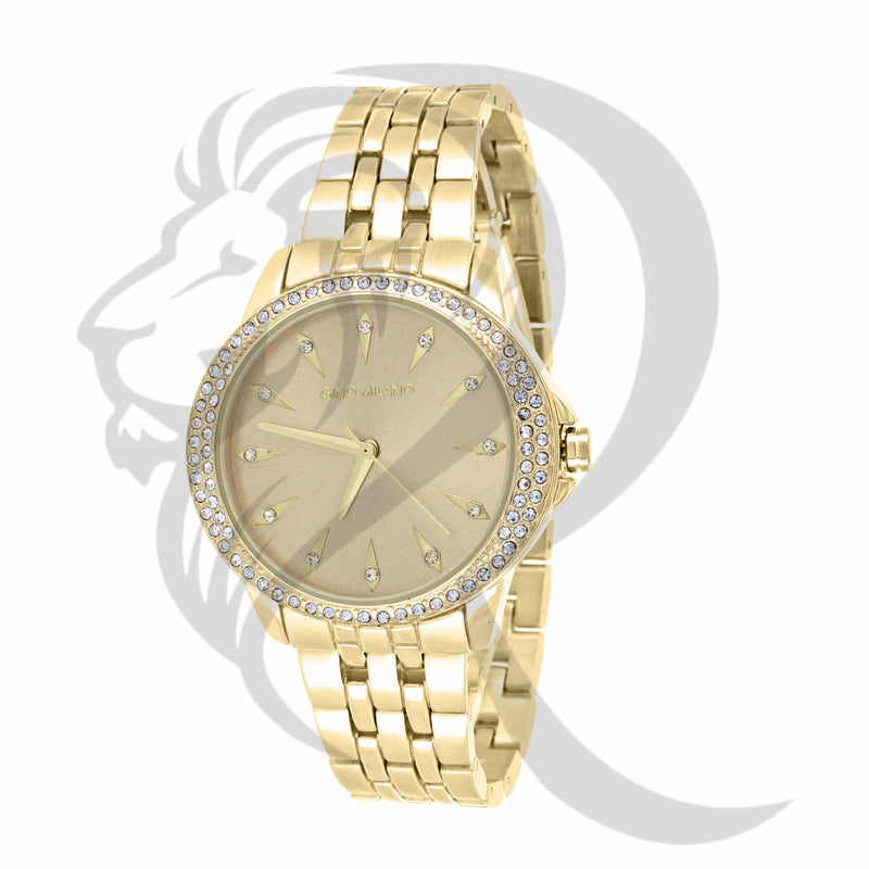 36MM IcedOut Bezel Plain Yellow Tone Leadies Metal Watch