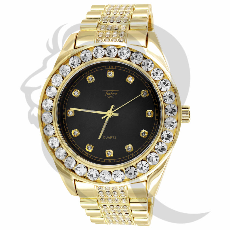 46MM Black Dial Yellow Gold IcedOut Techno Pave Presidential Watch