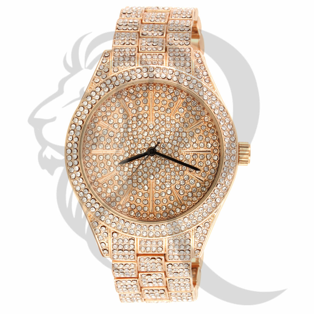 43MM IcedOut Rose Tone Techno Pave Men's Watch