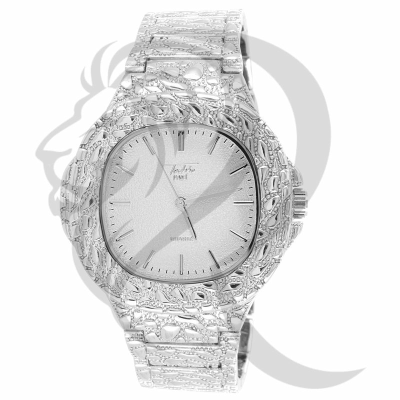 48MM Plain White Tone Nugget Style Face Band Metal Watch