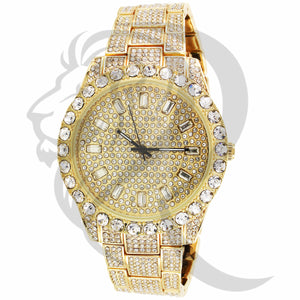 44MM Baguette & Solitaire IcedOut Face Techno Pave Men's Watch
