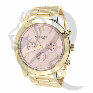 44MM Pink Dial Plain Rose Watch