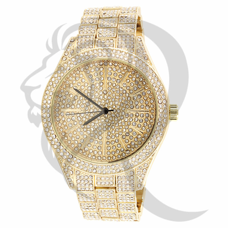 Yellow Tone IceOut 43MM Luxury Look Watch