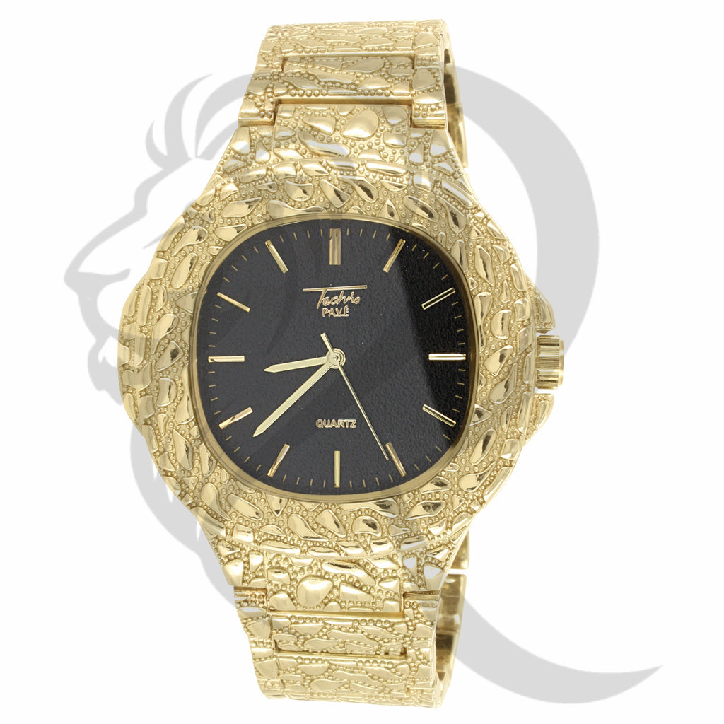 Big Face 48MM Black Dial Plain Yellow Nugget Style Watch