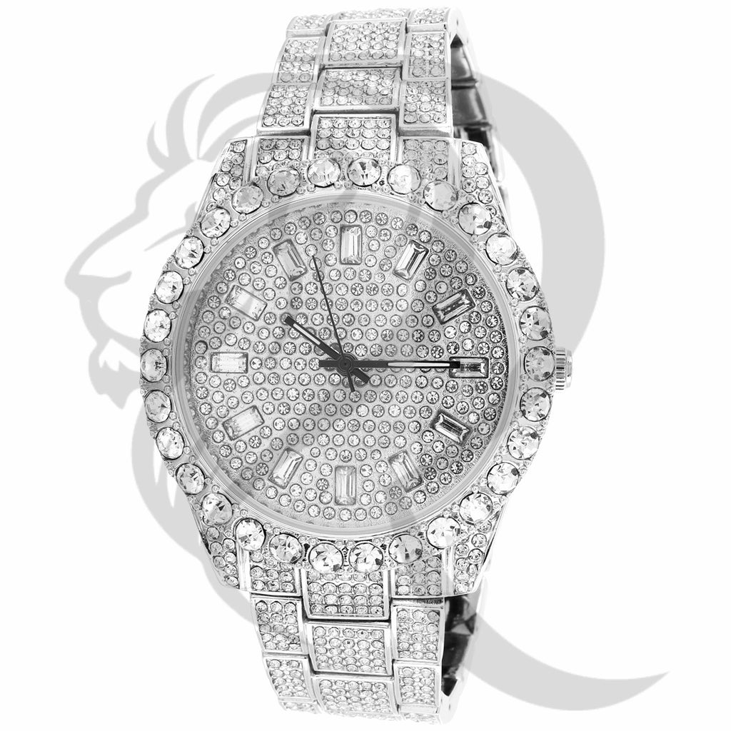 44MM Baguette IcedOut Dial Solitaire Face Techno Pave Men's Watch