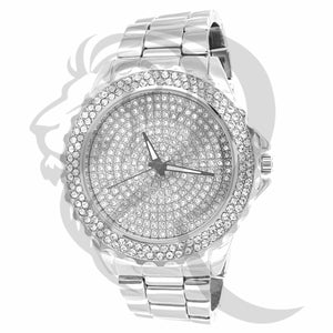 48MM Round IcedOut Face Plain White Gold Finish Men's Watch