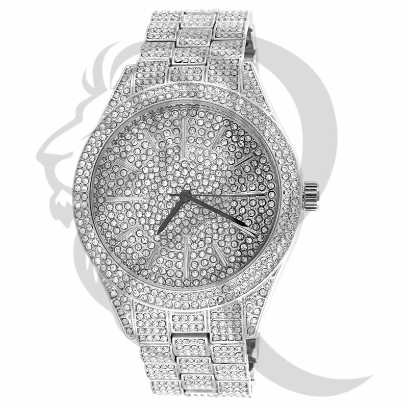 White IcedOut Round Face 43MM Men's Watch