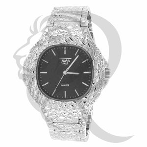 48MM Black Dial Plain White Techno Pave Nugget Style Watch