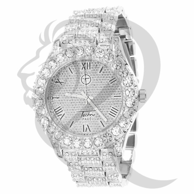 44MM White Gold Solitaire Bezel IcedOut Watch