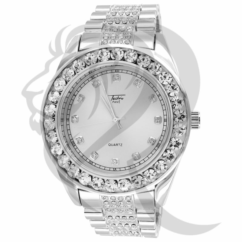 46MM Solitaire Bezel White IcedOut Presidential Band Men's Watch
