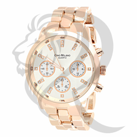 Rose Gold Plain Icedout Dial Watch