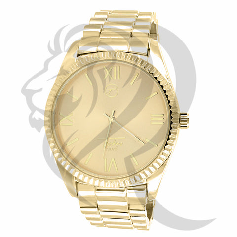 Yellow Gold Tone 45MM Techno Pave Watch